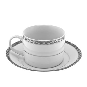 8 Oz. 3 1/2L x 3 1/4W x 2 1/2H Athens Platinum Can Cup with Saucer/Case Of 24