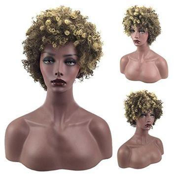 Fake Hair,vmree 36CM Female Brown Short Hair African Hair Wigs Sets