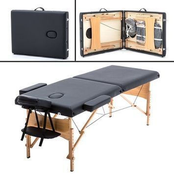 Massage Table Massage Bed Spa Bed 73 Inch Heigh Adjustable 2 Folding Portable Massage Table W/Sheet Cradle Bolsters Hanger Facial Salon Bed