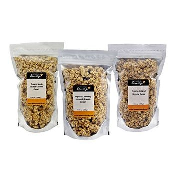 Grandma Emily Organic Granola Cereal Mixpack. (Made in CANADA) 6 x 11.64 oz. (330g) Bags in 3 Delicious Flavours. Organic Cranberry Almond/Organic Maple Quinoa/Organic Original. 100% Canadian Oats