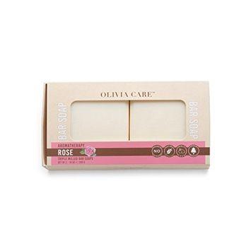 Olivia Care Natural Olive Oil Aromatheraphy Bath Soap Set of 2 Bars - 10 oz (Rose)