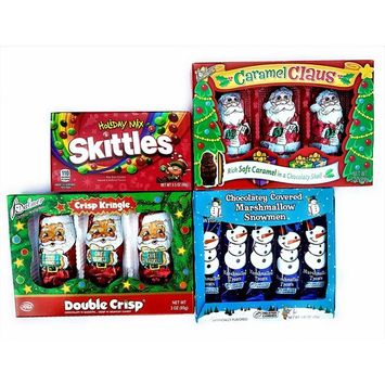 Christmas Stocking Stuffer Candy- Holiday Mix Skittles, Assortment of Chocolate Santa and Showmen with Caramel, Double Crisp and Marshmallow