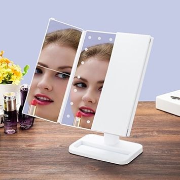 Magnifying Mirror with Light, Zinnor LED Lamp Luminous Makeup Mirror 10 X 3X 2 X 1X Three Folding Table Adjustable 24 Lights Travel Cosmetic Lighted Mirror
