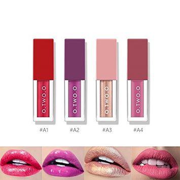 Coosa 4 Colors Liquid Diamond Lipstick Lip Gloss Set for Girls 4 Different Effects Velvet Matte Soft Glossy Shimmering Waterproof Long-lasting Kit
