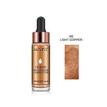Aliver Liquid Highlighter Makeup Glow Face Contour Bronze Make Up, Waterproof Glitter Brighten Shimmer Highlighter (#6 LIGHT COPPER)