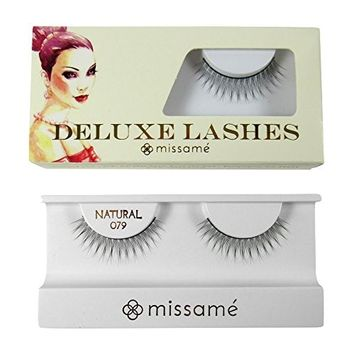 Missamé NATURAL Deluxe Reusable False Eyelashes Set Handmade with Premium Synthetic Fibers, Black, 1 Pair