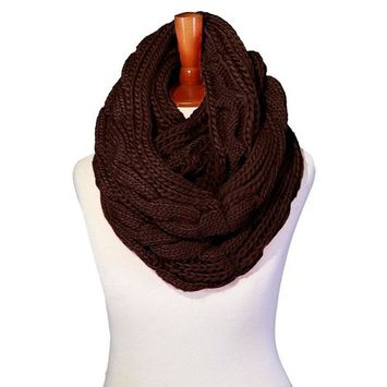 Basico - Basico Winter Chunky Knitted Infinity Scarf Circle Loop Various Colors (SF1603) [name: actual_color value: actual_color-brown]