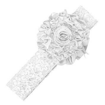 Baby Toddler Kid Girls princess HeadBand Hairband Hair Bow Lace Flower Accessories 0.5-2 year White Color AOSTEK(TM)