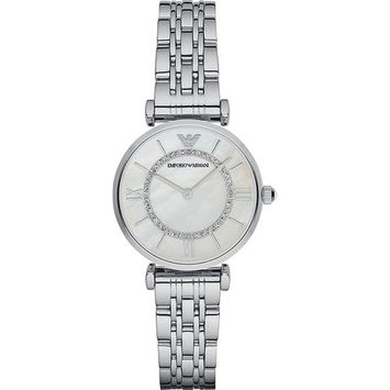 Emporio Armani Women's Retro Mother of Pearl Crystal Stainless Steel Watch AR1908