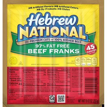 Hebrew National 97% Fat Free Beef Franks, 9.4 Ounce, 6 Count