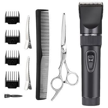 Rantizon Professional Haircut Kit Low Noise Electric Barber Clippers Set Blades Precision Trimmer Cord/Cordless Rechargeable Home Hair Cutting Kit For Adults Kids Babies 8-Piece Attachments Scissors