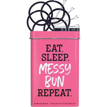 Eat, Sleep, Messy Bun Hair Tin