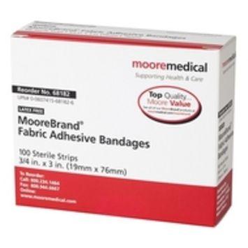 MooreBrand Antibacterial Adhesive Fabric Bandages, 3/4 x 3 Inch - Box of 100