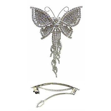 Bella Crystal White Butterfly Barrette Bridal Barrette WeddingHair Clip for Women Girls AD86014-9050