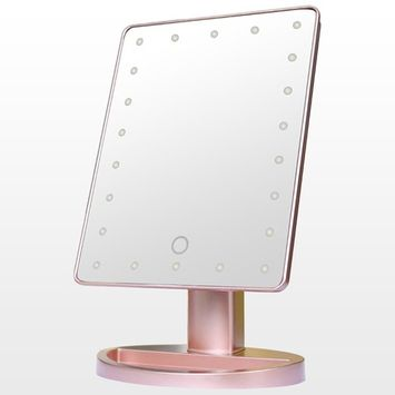 Allrise 22 LED Lighted Vanity Makeup Mirror, 180° Rotating Touch Screen Illuminated Tabletop Cosmetic Mirror(Rose g