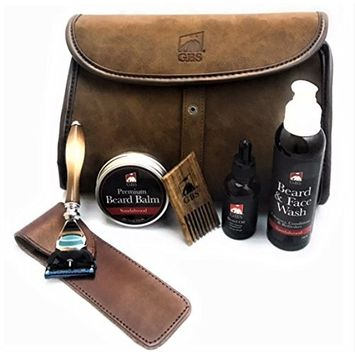 GBS Dopp Travel Bag - Horn Fusion Razor (with protective case) Sandalwood Beard Balm with Wood Pick, Oil and Face/Beard Wash