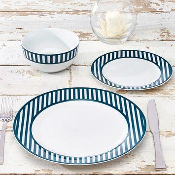 Nautical Collection 12-Piece Porcelain Striped Dinnerware Set, Walmart Exclusive
