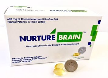 Nurture Brain - 600 mg of concentrated Omega-3 DHA for Brain Health for all adults Product of Europe 60 Softgels
