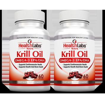 Omega 3 Krill Oil Highest Concentration of Omega-3s, 6S 9S DHA/EPAS 1000mg (Pack of 2)