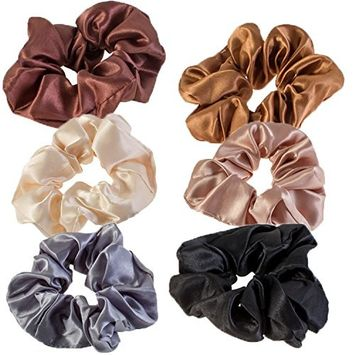 Hair Styling Hairstyling Set Kit of 6pcs Satin Scrunchies Hairbands Hair Bands Ponytails Holders Bobbles In Different Colors