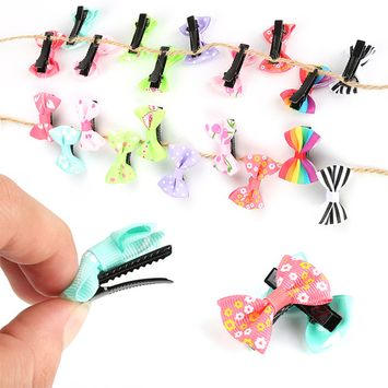 10Pcs/lot Hair Clips Fashion Girls Kids Candy Color Dot Flower Print Ribbon Bow Hairpin Kids Hair Accessories MZ