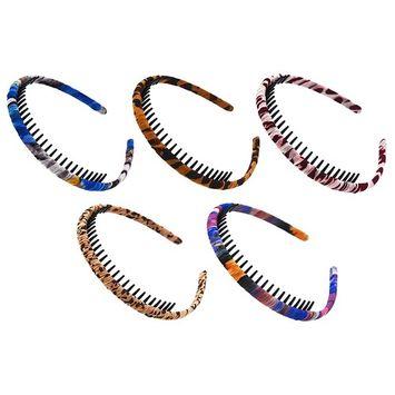 STHUAHE 5PC Woman and Girl Protection Resin Teeth Comb Hair Hoop Hairband Headband Hair Accessories by Beauty Hair