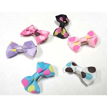 Lovely Cute Fashion Beautiful Unique Butterfly Bow-knot Bow tie Hair Clip Tie Barrette Hair Bow Pony Tail Holder Poka Dot Style Colorful for Kid Girls and Baby Girls- Mix Color Style 2 AOSTEK(TM)
