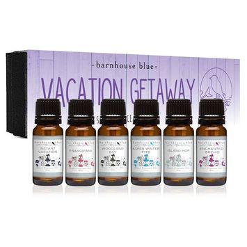 Vacation Getaway Premium Grade Fragrance Oil - Gift Set 6/10ml Bottles - Island Hop, Instant Vacation, Aspen Winter, Woodland Bay, Enchanted Orchid, Frangipani