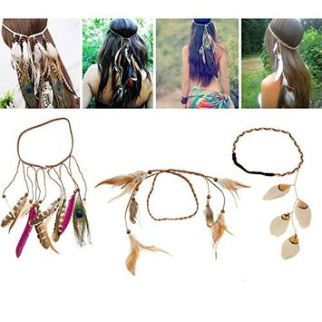 3 Hairbands / Feathers Headbands / Hair Jewelry