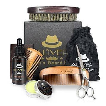 Beard Care Grooming & Trimming Kit 6 in 1 Mens gifts - Unscented Beard Conditioner Oil, Mustache & Beard Comb, Balm Wax, Brush, Mustache Scissors Trimmer for Styling Shaping & Growth