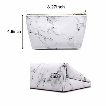 Whaline 2 Pieces Marble Cosmetic Makeup Bag Brush Holder Travel Storage Case Portable Toiletry Pouch Coin Purse with Gold Zipper for Women and Girl