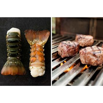 Alaskan King Crab Surf and Turf Dinner for Two, Australian Lobster Tails, Fillet Mignon, Thick Cut Bacon - Overnight Shipping Monday - Thursday