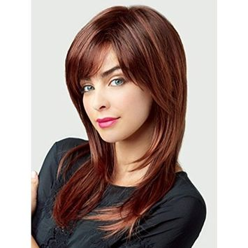 Womens Long Straight Wigs - Menoqi Synthetic Heat Resistant Wig with Wig Cap WIG162