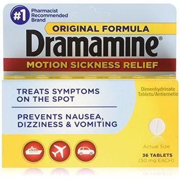 3 Pack Dramamine Motion Sickness Relief Original Formula, (36 Tablets, 50 MG EA)