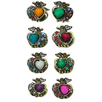 Set of 8 Lovely Heart Mini Jaw Clips Decorated with beads and crystals DW864175-heart1-8