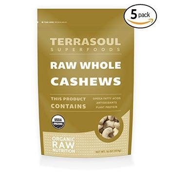 Terrasoul Superfoods Organic Raw Whole Cashews, 5 Pounds [Cashews - Whole]