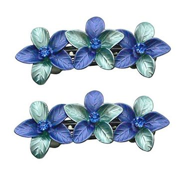 Pair of Smal Crystal Hair Barretts with French Clasp NF86400-GL11blue
