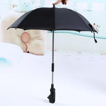 Baby strollers Umbrella, Wheelchair Pushchair Baby Stroller Umbrella Stand Holder 360 Degrees Adjustable Parasol UV Rays Rain Sun Canopy (Black)