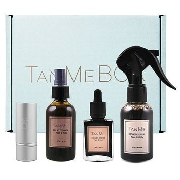 TanMeBox Tanning and Bronzer Set with Applicator Brushes, Self-Tanning Starter Kit with Natural Organic Ingredients for a Deep Well-Blended Tan