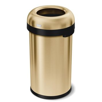 simplehuman 16 Gal. Heavy-Gauge Stainless Steel Bullet Open Top Commercial Trash Can in Brass
