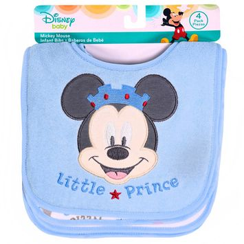 Disney Infant Bibs, Mickey Mouse, Little Prince, 4 count