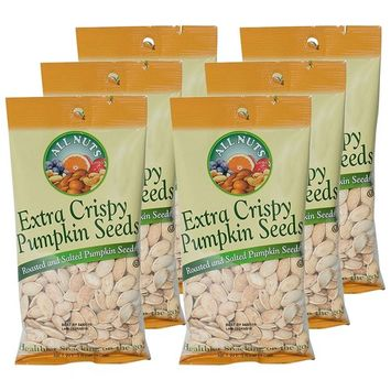 All Nuts 6PK Pumpkin Seeds Extra Crispy Roasted Salted 3.5oz Bags, Total Weight 1.31LB