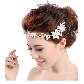 Stunning Premium Quality Prom / Wedding Bridal Tiaras / Headbands / Brides Hair Decorations In Silver Color With Flowers Shapes Studded With Clear Rhinestones Crystals Gemstones And White Pearls By VAGA®