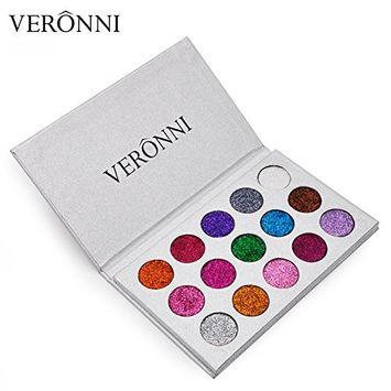VERONNI 15 Colors Cosmetics Glitter Eye Shadow Palette Makeup Waterproof Long-lasting easy to wear Eyes