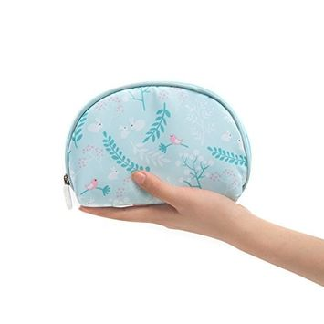 Women Cosmetic Makeup Pouch Bags, Portable Cute Half Moon Waterproof Travel Toiletry Case for Purse Blue