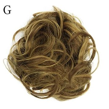 CYCTECH New Popular Women Curly Messy Bun Scrunchie Hair Weave Wig Short Extensions Hair Synthetic Hairpieces Hairdressing (MulticolorG)