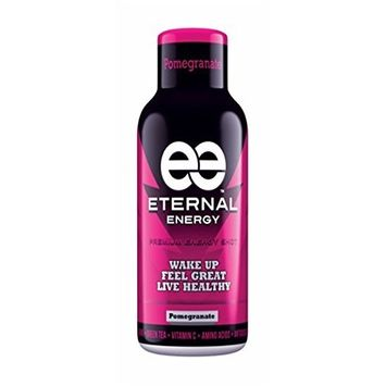 Eternal Energy shot POMEGRANATE flavor with 25 vitamins, minerals, amino acids, and antioxidants and no sugar added.
