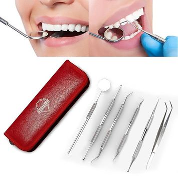 FDA Approved Dental Teeth Gum Cleaning Tool Kit For Home | Toothpick - Dental Floss – Tweezers – Mirror – Burnisher -Scaler | Tartar and Plaque Remover Dentist Tool Set In High Grade Stainless Steel