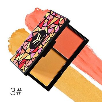 EA-STONE 2 Colors Powder Blush Blusher Powder Makeup Palette Cosemetic Contouring Kit for Professional and Daily Use