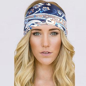 Hunputa Headwear, Bohemian Floral Printed Wide Fashion Cotton Headbands for Women Breathable Moisture Wicking Sport Head Wraps Scarf for Workout Yoga Running